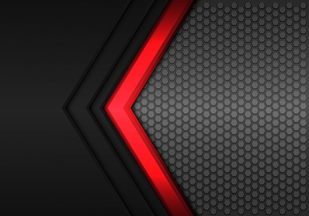 Red power arrow direction black hexagon mesh background.