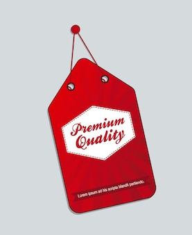 Red premium quality label isolated vector illustration