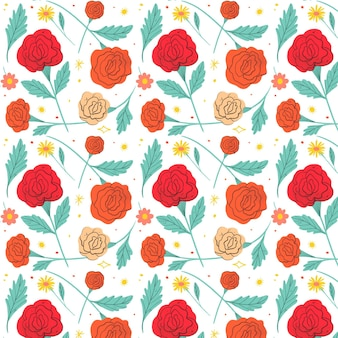 Red pressed flowers pattern