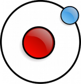 Red proton and a blue electron in circular orb