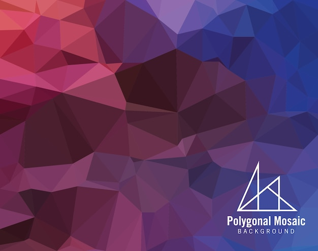 Red purple blue polygonal mosaic background