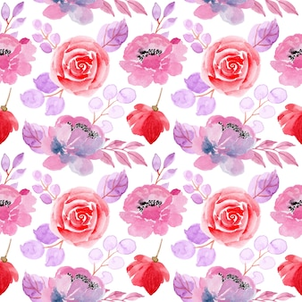 Red purple floral watercolor seamless pattern