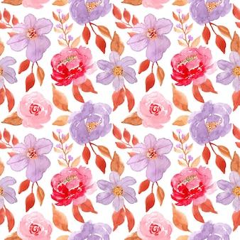 Red purple flower watercolor seamless pattern