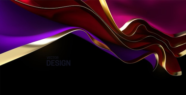 Red and purple streaming fabric sheets with golden edges