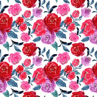 Red purple watercolor floral seamless pattern