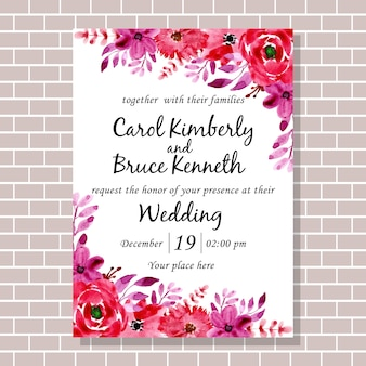 Red purple watercolor flower wedding invitation card