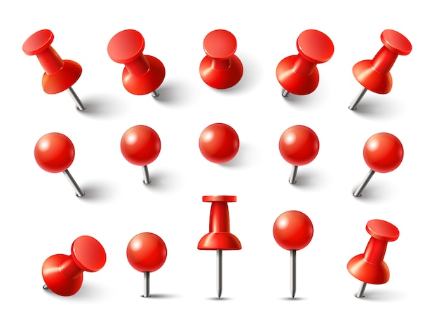 Red pushpin top view. thumbtack for note attach collection. realistic 3d push pins pinned in different angles isolated
