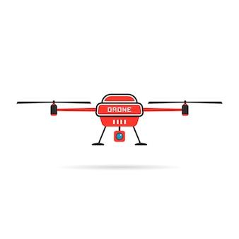 Красный квадрокоптер с тенью. концепция бпла, винтокрыл, квадрокоптер, досуг, ротор, промышленность, небесный робот, машина. плоский стиль тенденции современный дрон дизайн логотипа векторные иллюстрации на белом фоне