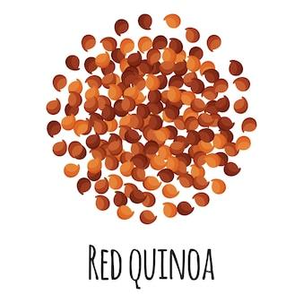 Красная киноа для дизайна, этикетки и упаковки фермерского рынка. натуральный энергетический протеин, органический суперпродукт. векторный мультфильм изолированных иллюстрация.
