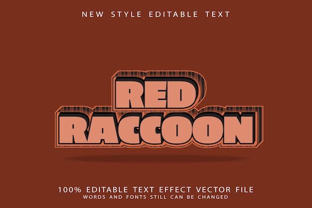 Red raccoon text effect emboss cartoon style