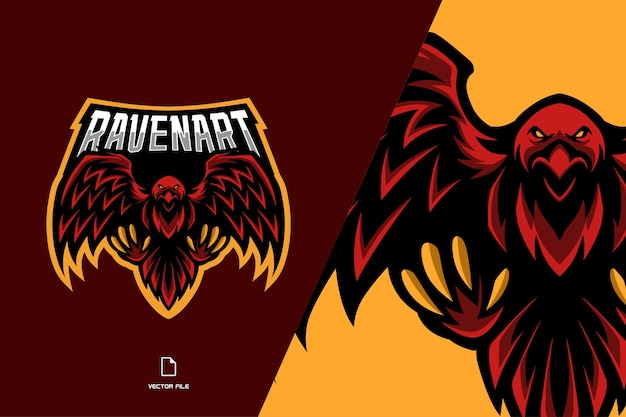 Red raven crow mascot sport game team logo