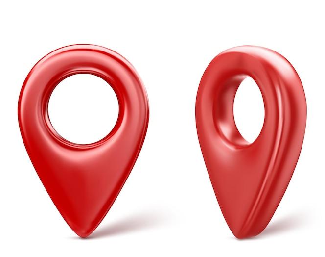 빨간색 현실적인 3d 지도 핀 포인터 아이콘입니다. 흰색 배경에 고립. 벡터 일러스트 레이 션.