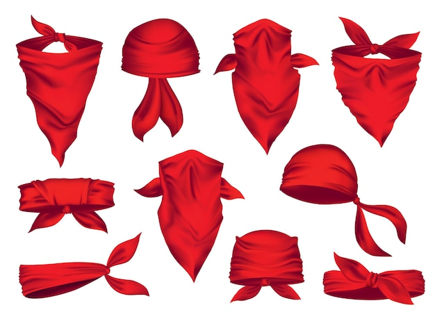 Red realistic bandana on neck and head set