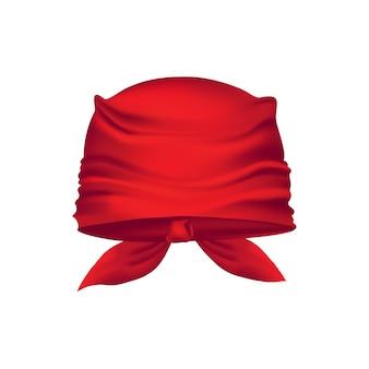 Красная реалистичная бандана на голове.