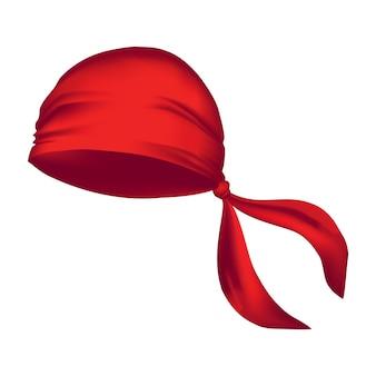 Красная реалистичная бандана на голове