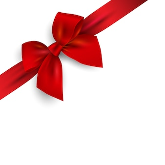 Red realistic bow with ribbon isolated on angle