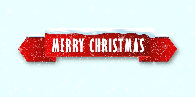 Red realistic curved ribbon merry christmas banner isolated on snow