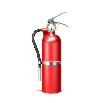Red realistic fire extinguisher isolated on white background