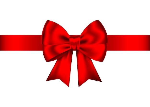 白で隔離される水平方向のリボンと赤のリアルなギフト弓