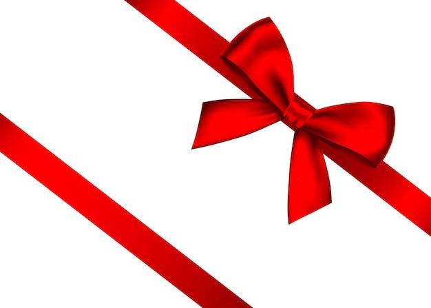 分離された水平リボンと赤い現実的なギフトの弓