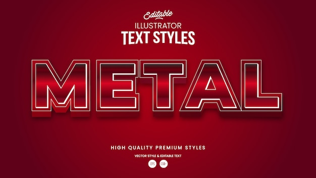 Red realistic metal gradient  modern abstract text effect editable graphic style