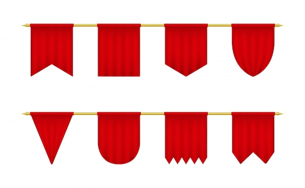 Red realistic pennant.