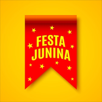 Red realistic ribbon with yellow stars. decoration with name of brazilian festival.  .