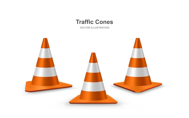 Red realistic road plastic cones with white striped