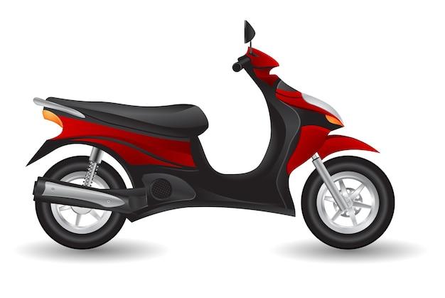 赤いリアルなスクーターバイクのアイコン