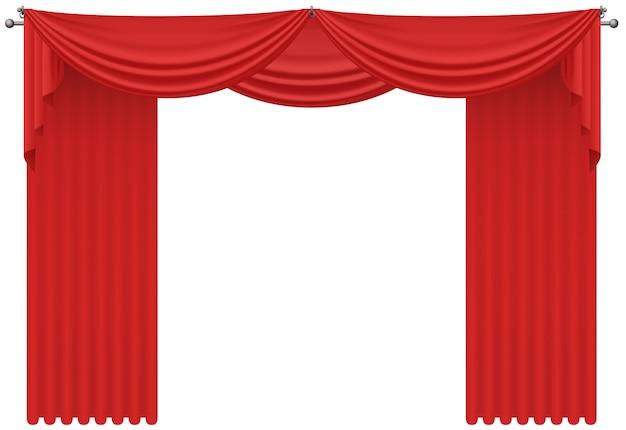 Красные реалистичные шелковые шторы, драпировка изолированные