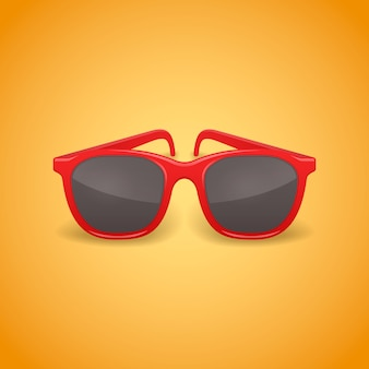 Red realistic sunglasses isolated illustration.