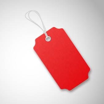 Red  realistic textured sell tag with rope.