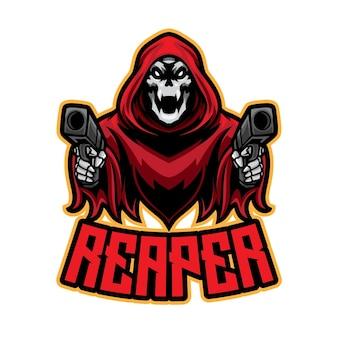 Red reaper esport logo Premium Vector