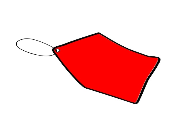 Red rectangle blank tag with black list