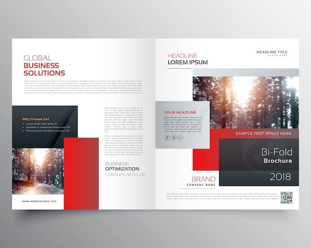 Red rectangular business brochure template