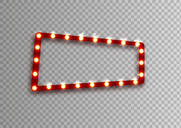Red rectangular retro frame with glowing lamps vector illustration with shining lights in vintage