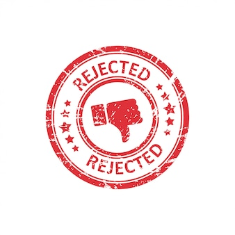 Red rejected stamp with grunge in a flat