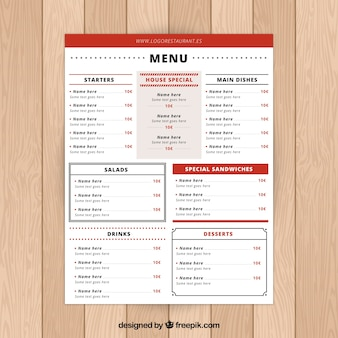 많은 섹션이있는 빨간 식당 메뉴