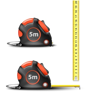 Red retractable steel measuring tape with imperial and metric measurements isolated