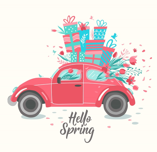 Red retro car delivering bouquet of tulips pink background. february 14 card, valentine s day. flower delivery.