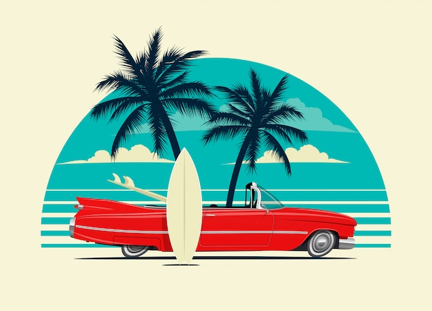 Red retro roadster car with surfing boards on the beach with palm silhouettes on background.