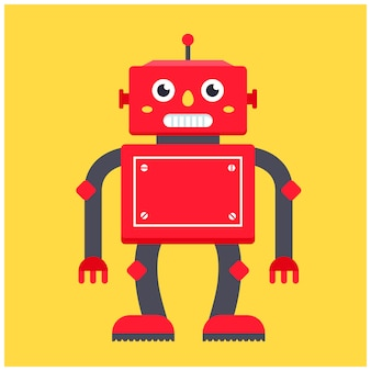 Red retro robot. character vector illustration