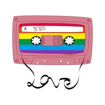 빨간 복고풍 테이프 카세트입니다. 고립 된 낙서 스타일의 빈티지 오디오 믹스 테이프