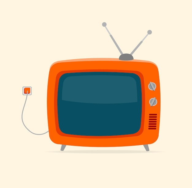 Красный ретро телевизор с проводом и крошечной антенной, изолированные на белом фоне.