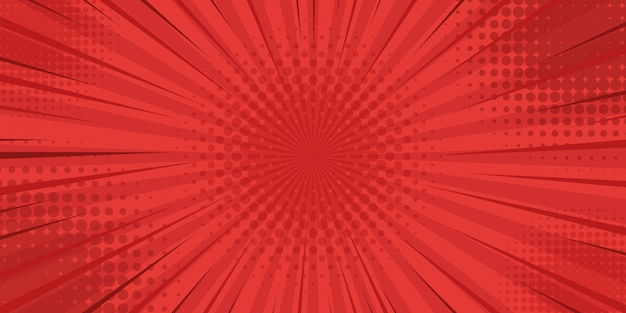 Red retro vintage style background with sun rays
