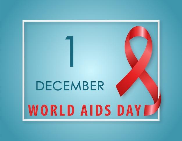 Red ribbon aids awareness symbol.