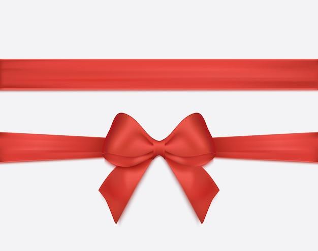 Красная лента и бант изолированное векторное украшение для подарочных карт для иллюстраций подарочных коробок