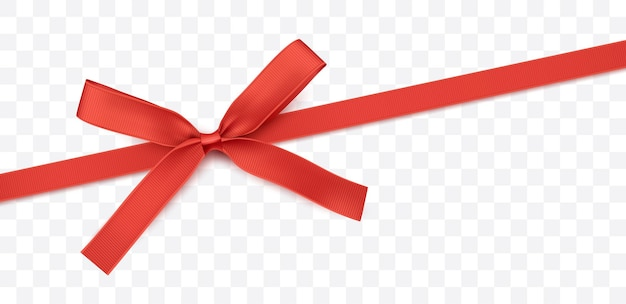 Красная лента и лук изолированное векторное украшение для подарочных карт для подарочных коробок или рождественских иллюстраций