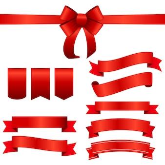 赤いリボンと弓のセット。ベクターイラストeps10