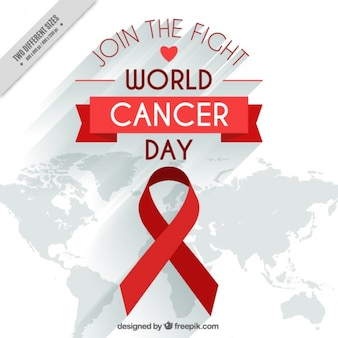 Red ribbon background and map of world day against cancer